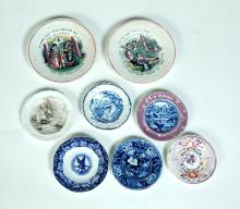 EIGHT PIECES OF CHINA INCLUDING SIX CUP PLATES, AND TWO MAXIM PLATES.