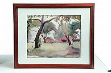 FRAMED WATERCOLOR ON PAPER BY TUNIS PONSEN, (CHICAGO, 1891-1968).