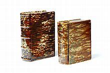 TWO BENNINGTON BOOK FLASKS.