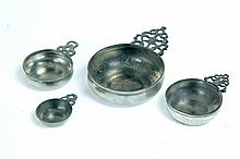 FOUR PEWTER PORRINGERS.