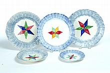 FIVE BLUE SPATTERWARE PLATES.