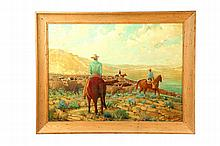 WESTERN LANDSCAPE WITH COWBOYS SIGNED H. H. HAMILTON (AMERICAN SCHOOL, MID 20TH CENTURY).