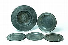 THREE PEWTER PLATES AND TWO BASINS.