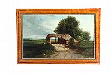 LANDSCAPE WITH TOLLHOUSE (AMERICAN, 2ND HALF-19TH CENTURY).