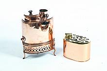 COPPER URN AND WARMER.
