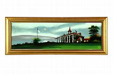REVERSE GLASS PAINTING OF MT. VERNON.