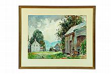FARM SCENE BY WILLIAM LESTER STEVENS (AMERICA, 1888-1969).