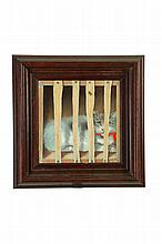 CAT IN CRATE BY GAYLORD (AMERICAN SCHOOL, 19TH CENTURY).