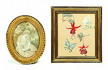 TWO FRAMED NEEDLEWORKS.