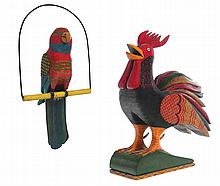 TWO FOLKSY CARVINGS BY PAUL TYSON (PENNSYLVANIA, 1921-1984).