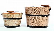 TWO DECORATED SHAKER BUCKETS.