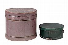 SUGAR BUCKET AND BENTWOOD BOX.