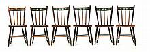 SET OF SIX DECORATED SIDE CHAIRS.