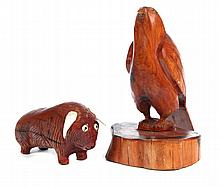 TWO FOLK ART CARVED ANIMALS.