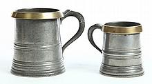 TWO PEWTER MUGS.