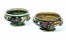 PAIR OF WELLER POTTERY COPRA JARDINIERES.
