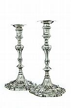 PAIR OF GEORGE III SILVER CANDLESTICKS.