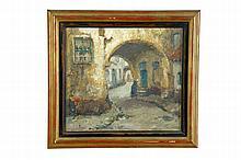 CITYSCAPE BY ALFRED VAN NESTE (NETHERLANDS, 1847-1969).