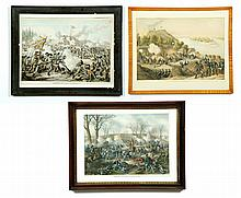 THREE CIVIL WAR PRINTS BY KURZ & ALLISON.