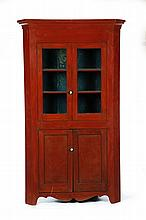 AMERICAN PAINTED CORNER CUPBOARD.