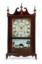 NEW ENGLAND PILLAR AND SCROLL CLOCK.