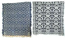 TWO JACQUARD COVERLETS.