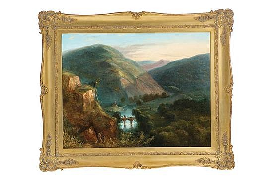 MOUNTAIN LANDSCAPE BY J.M. CHRISTOPHERS (BRITISH, MID 19TH CENTURY).