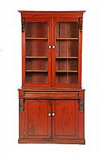 TWO PIECE STEP BACK BOOKCASE.