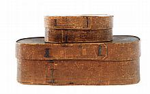 TWO BENT WOOD BOXES.