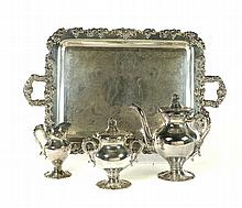 FOUR PIECE SILVER PLATED TEA SET.