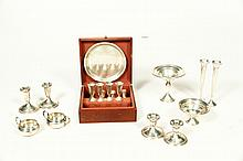 BOXED STERLING CORDIAL SET AND WEIGHTED STERLING PIECES.