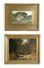 TWO FRAMED LANDSCAPES (AMERICAN OR ENGLISH SCHOOL, LATE 19TH CENTURY).
