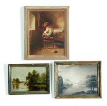 THREE FRAMED PICTURES (AMERICAN SCHOOL, 19TH CENTURY).