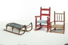 THREE AMERICAN CHILDREN'S CHAIRS AND SLED.