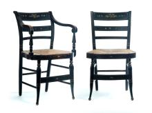 SET OF EIGHT AMERICAN DECORATED SHERATON CHAIRS.