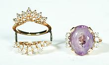 AMETHYST AND DIAMOND RING WITH DIAMOND RING GUARD.