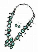 TURQUOISE SQUASH BLOSSOM NECKLACE AND EARRINGS.