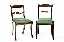 TWO PAIR OF HIGH-STYLE FEDERAL CHAIRS.