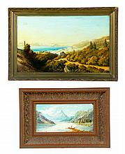 TWO LANDSCAPE OIL PAINTINGS.