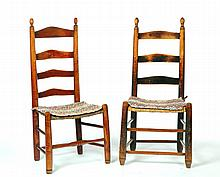TWO PAIR OF LADDERBACK CHAIRS.