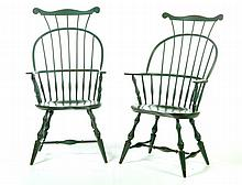 PAIR OF WINDSOR-STYLE COMB BACK ARM CHAIRS.