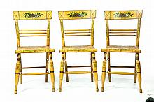 SET OF SIX PAINT-DECORATED SHERATON SIDE CHAIRS.