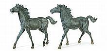 PAIR OF BRONZE HORSES.