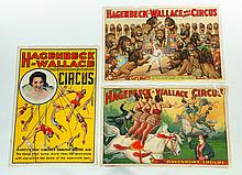 EIGHT CIRCUS POSTERS INCLUDING HAGENBECK-WALLACE, DAN RICE, AND TOM MIX.