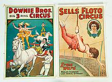 NINE CIRCUS POSTERS FROM DOWNIE BROS., WALLACE BROS., AND SELLS FLOTO.