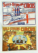 ELEVEN CIRCUS POSTERS INCLUDING SEILS-STERLING, VON BROS., CHRISTY BROS., BUCK OWENS, SELLS BROS., RUSSELL BROS., AND DAILEY BROS.
