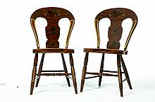 SET OF FOUR PAINTED BALLOON BACK CHAIRS.