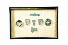 SHADOWBOX FRAME OF ANCIENT THAI ARTIFACTS.
