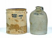 TWO PIECES OF MIDDLEBURY, OHIO, COBALT-DECORATED STONEWARE.