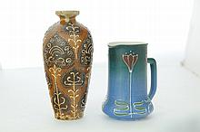 TWO PIECES OF OHIO ART POTTERY.